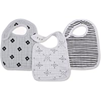 Aden and Anais Lovestruck Muslin Snap Bib, Black, White, 3 Count