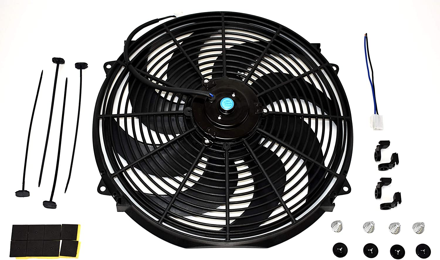 """A-Team Performance 160061 16"""" High Performance Heavy Duty 12V Black Radiator Electric Wide Curved Cooling Fan Assembly Kit 8 Blade FAN 3000 CFM"""