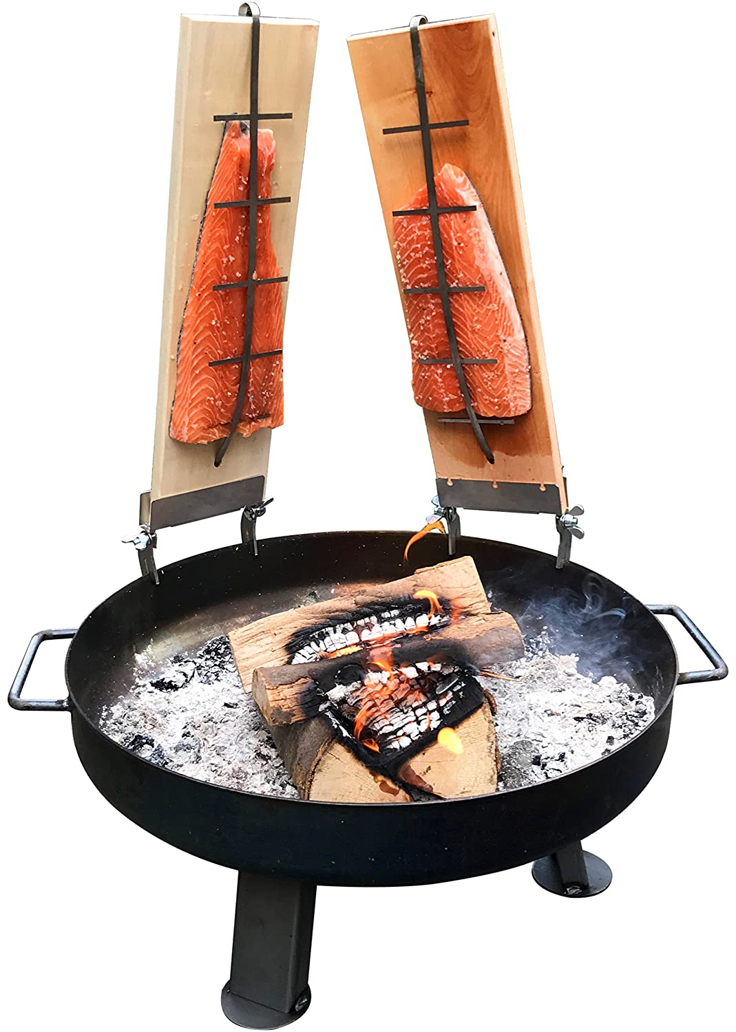 2 x Flame Salmon Board Made Of Finnish Birch, Seamlessly adjustable for Salmon up to 1.5 kg, Original Flame Salmon Board for Real Flame Salmon, Grill Plank, Smoke Board with Flexible Fish Holder acerto