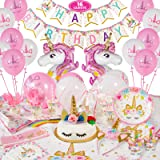 Unicorn Birthday Decorations for Girls - Unicorn Party Supplies - 211 Pieces - Disposable Tableware Kit Serves 16 - Headband