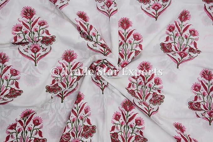 Tela india de 3 metros con estampado de bloques de mano, 100% algodón, tela de tinte natural, para manualidades, confección de vestidos, costura por ...