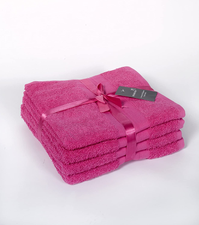 Dreamscene Luxury 100% Egyptian Cotton Soft 4 Piece Hand Towel Bale Gift Set Fuchsia Pink HANDFU5501
