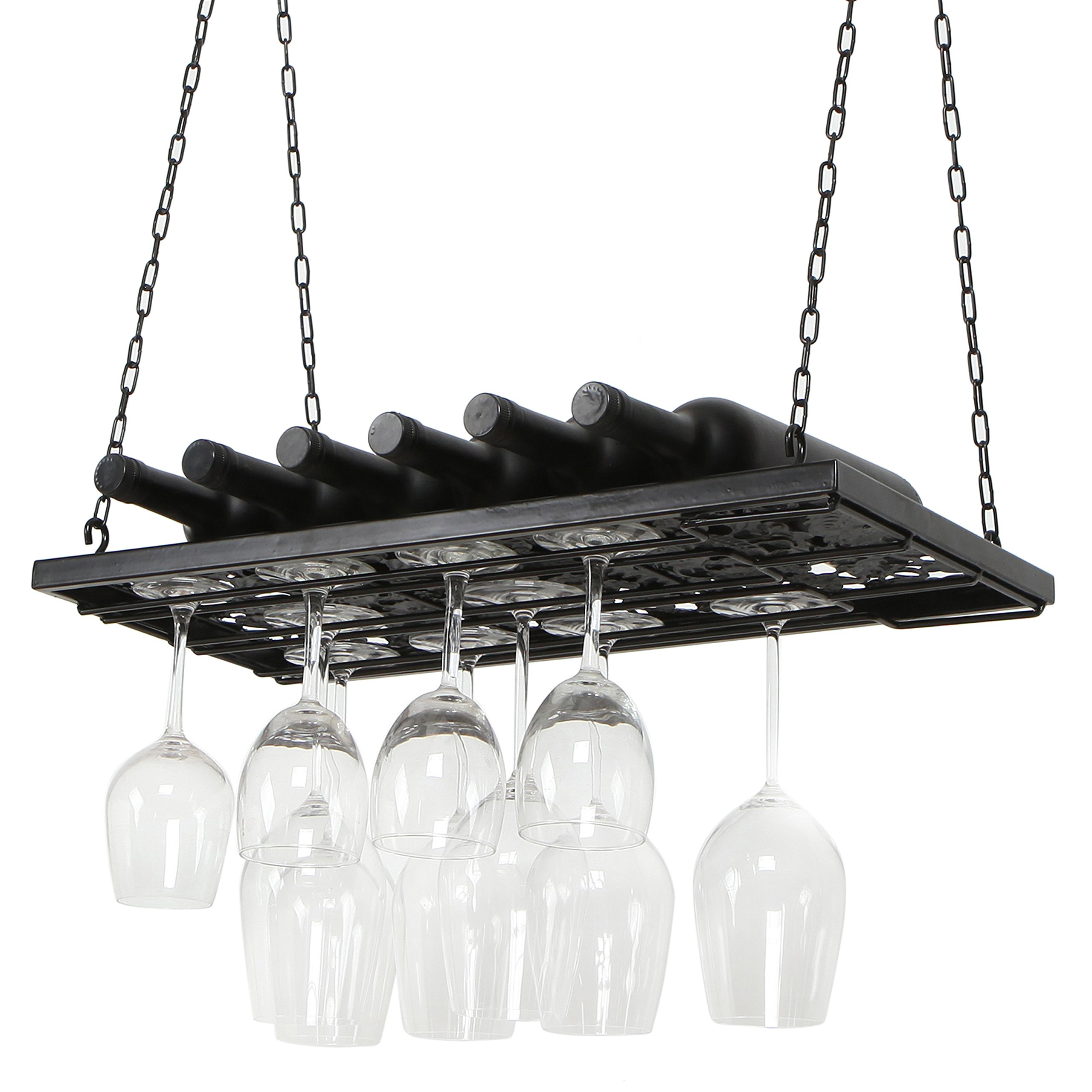 Vineyard Design Black Metal Ceiling Mounted Hanging Stemware Wine Glass Hanger Organizer Rack by MyGift