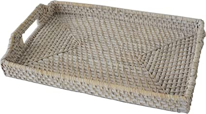 Wicker Serving Trays And Coffee Trays With Handles Hand Woven Rattan Serving And Decorative Trays For Coffee Breakfast Bread Food Dish Snacks For Kitchen Living Room And Bathroom Rectangle Whitewash Amazon Co Uk Kitchen Home