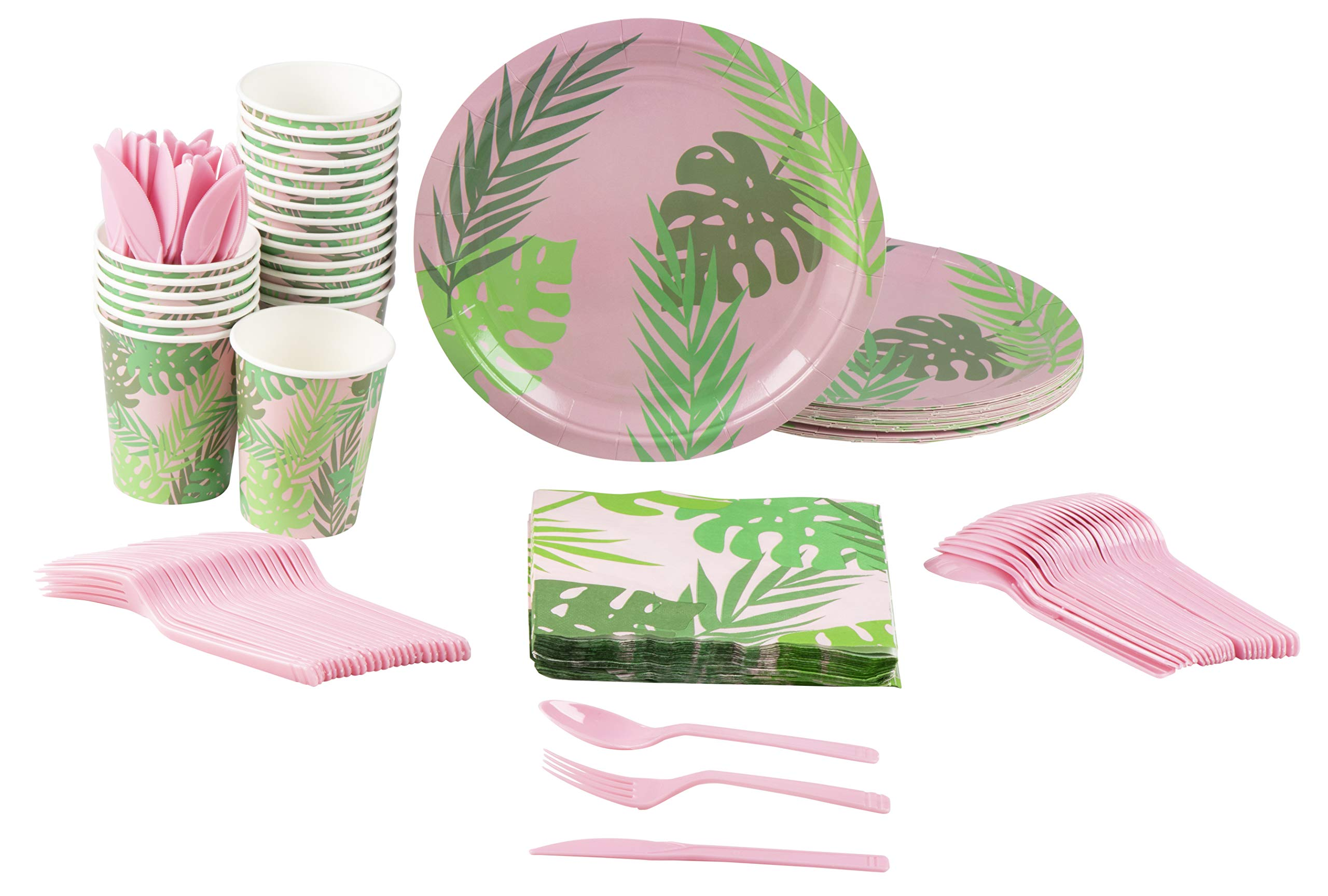 Disposable Dinnerware Set - Serves 24 - Tropical Party Supplies for Kids Birthdays, Bridal Showers, Palm Leaves Design, Includes Plastic Knives, Spoons, Forks, Paper Plates, Napkins, Cups