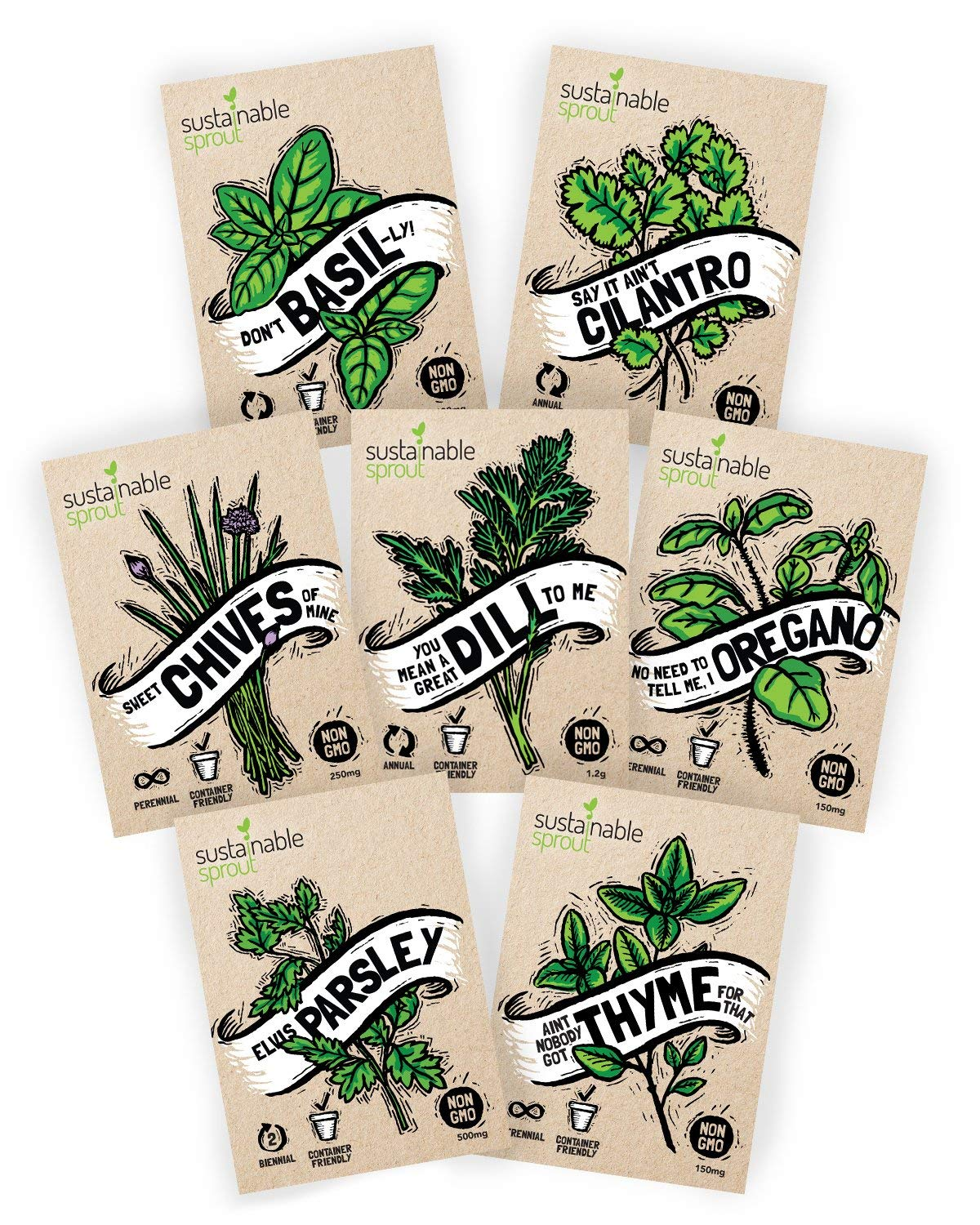 Sustainable Sprout SS01 Variety Pack for Planting an Indoor Garden: Basil, Parsley, Thyme, Oregano, Cilantro, Chives, Dill Herb SillySeed Collection-Over 3500 Seeds 100% Non GMO by Sustainable Sprout