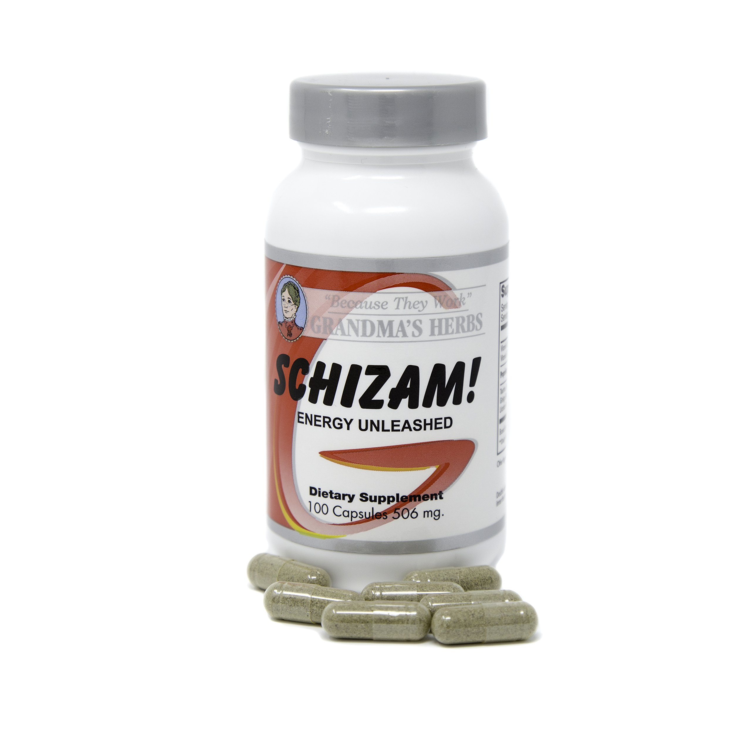 Grandma's Herbs Schizam! Energy Unleashed Herbal Remedy for Natural Boost in Metabolism and Energy - 100 Capsules