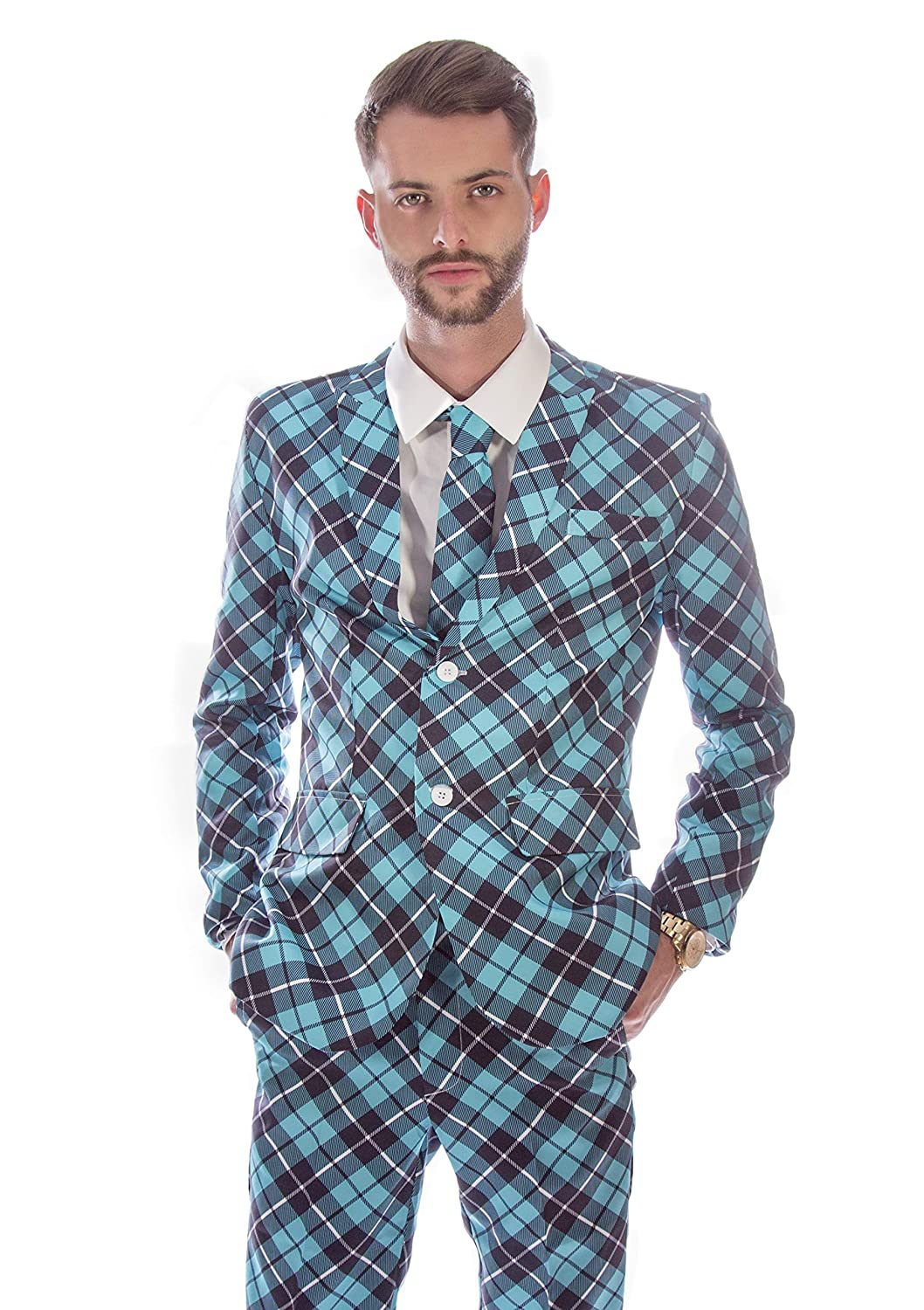 36-38 Chest Black and White Striped Stag Suit