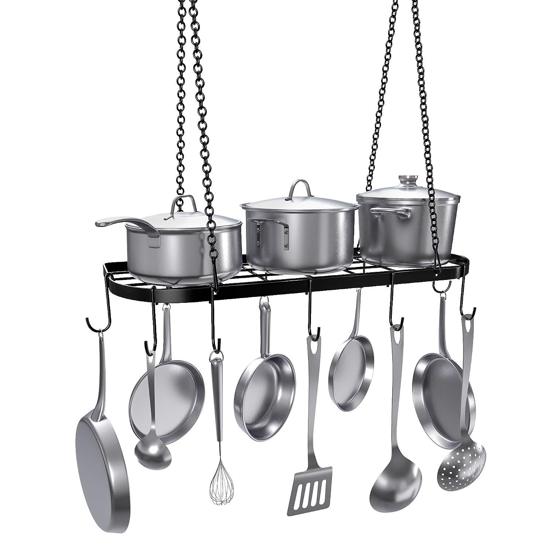 VDOMUS Pot Rack Ceiling Mount Cookware Rack Hanging Hanger Organizer with Hooks, Black by VDOMUS VM-3