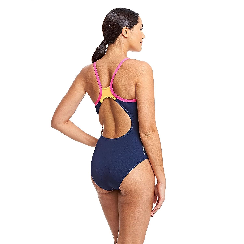 Zoggs Womens Eden Bikini Swim Top Navy//White//Pink Cup 34E w// V-neckline