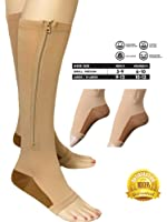 Copper Infused Compression Socks with Zipper 20-25 mmHg Beige Nude Open Toe by Juniper's Secret