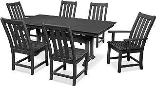 product image for POLYWOOD Vineyard 7-Piece Farmhouse Dining Set (Black)