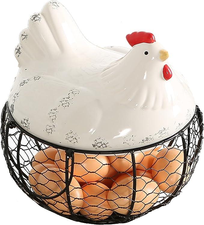 Wooden Chicken Hen Egg Holder Basket