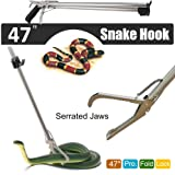 Fnova 47 Inch Professional Collapsible Snake Tongs Reptile Catcher Stick Rattlesnake Grabber Pick-up Handling Tool, with Zigzag Wide Jaw, Stainless Steel, Silver