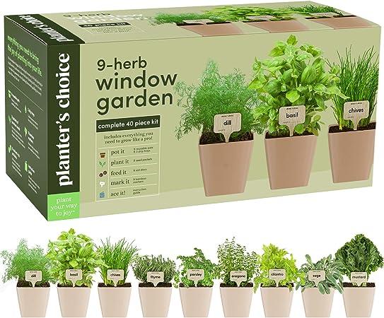 Amazon Com 9 Herb Window Garden Indoor Organic Herb Growing