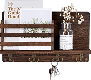 Mimacoo Wall Mounted Key Mail Holder Organizer Wooden Mail Sorter with 4 Double Coat Key Hooks and A Floating Shelf Rustic Home Decor for Entryway or Mudroom,Dark Brown