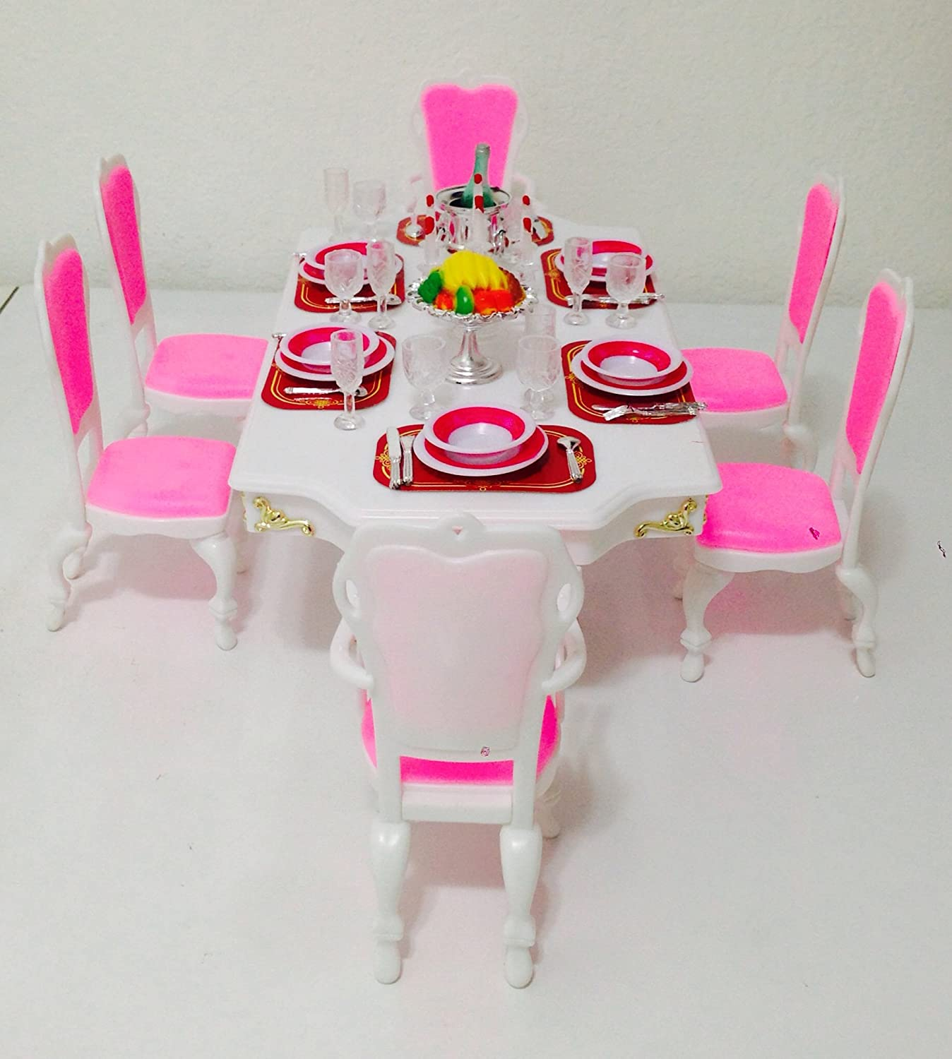 Amazon.com: Barbie Size Dollhouse Furniture-Grand Dining Room Play ...
