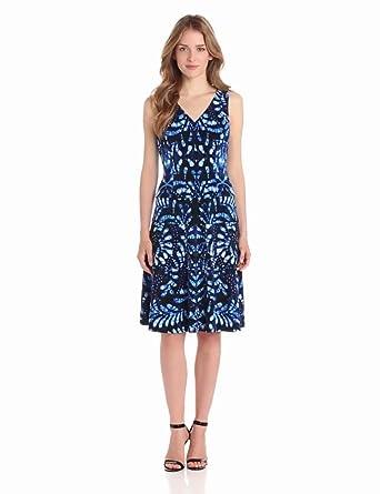 Anne Klein Women's Printed V-Neck Swing Dress, Azure Multi, 6