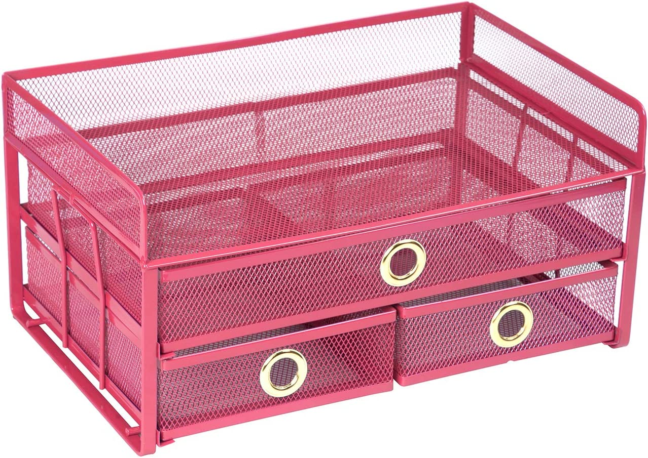 Pro Space Mesh Desk Organizer 3-Tier Metal Desktop File Organizer with 3 Drawers,Document Letter Tray for Office or Home,6 File Folders and a Note for Free,13.89.066.9 Sky Blue