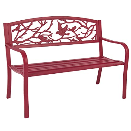 cc66115fd64f Amazon.com : Best Choice Products 50in Steel Outdoor Patio Garden Park  Bench Porch Chair Yard Furniture w/Bird Design - Red : Garden & Outdoor
