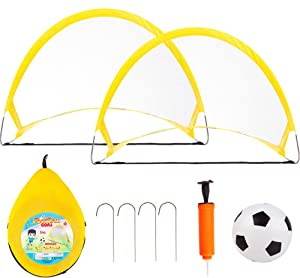 NEOWEEK Soccer Goals for Kids Age 2-6 Years Old, Toddler Soccer Set with 2 Pop Up Collapsible Portable Soccer Nets and 1 Soccer Ball, Best Kids Soccer Toys for Backyard Indoor Outdoor Games