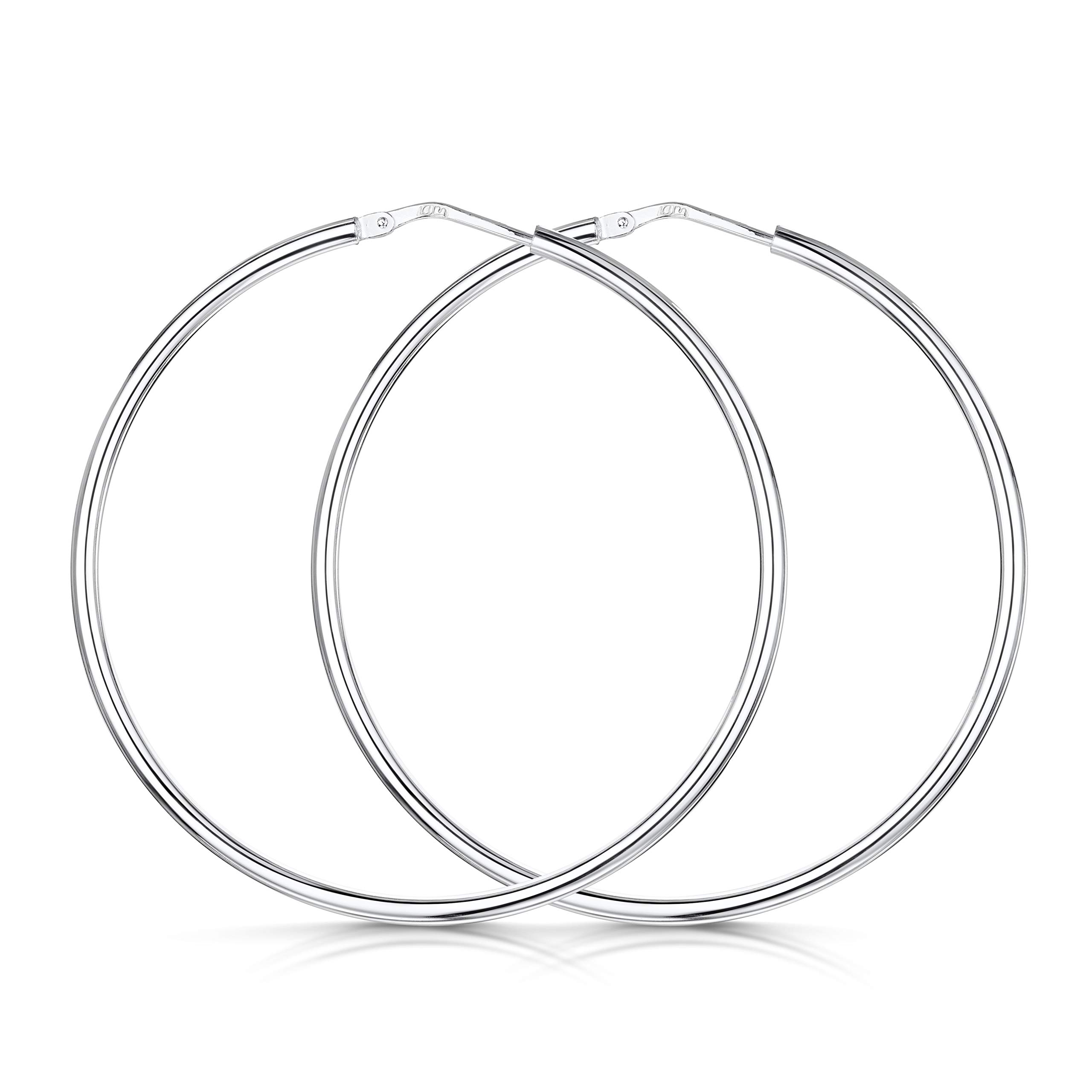 53bf3875fea2 Amberta® 925 Sterling Silver Fine Circle Hinged Hoops - Round Creole  Sleeper Earrings Diameter Size  7 10 15 20 25 35 45 55 mm