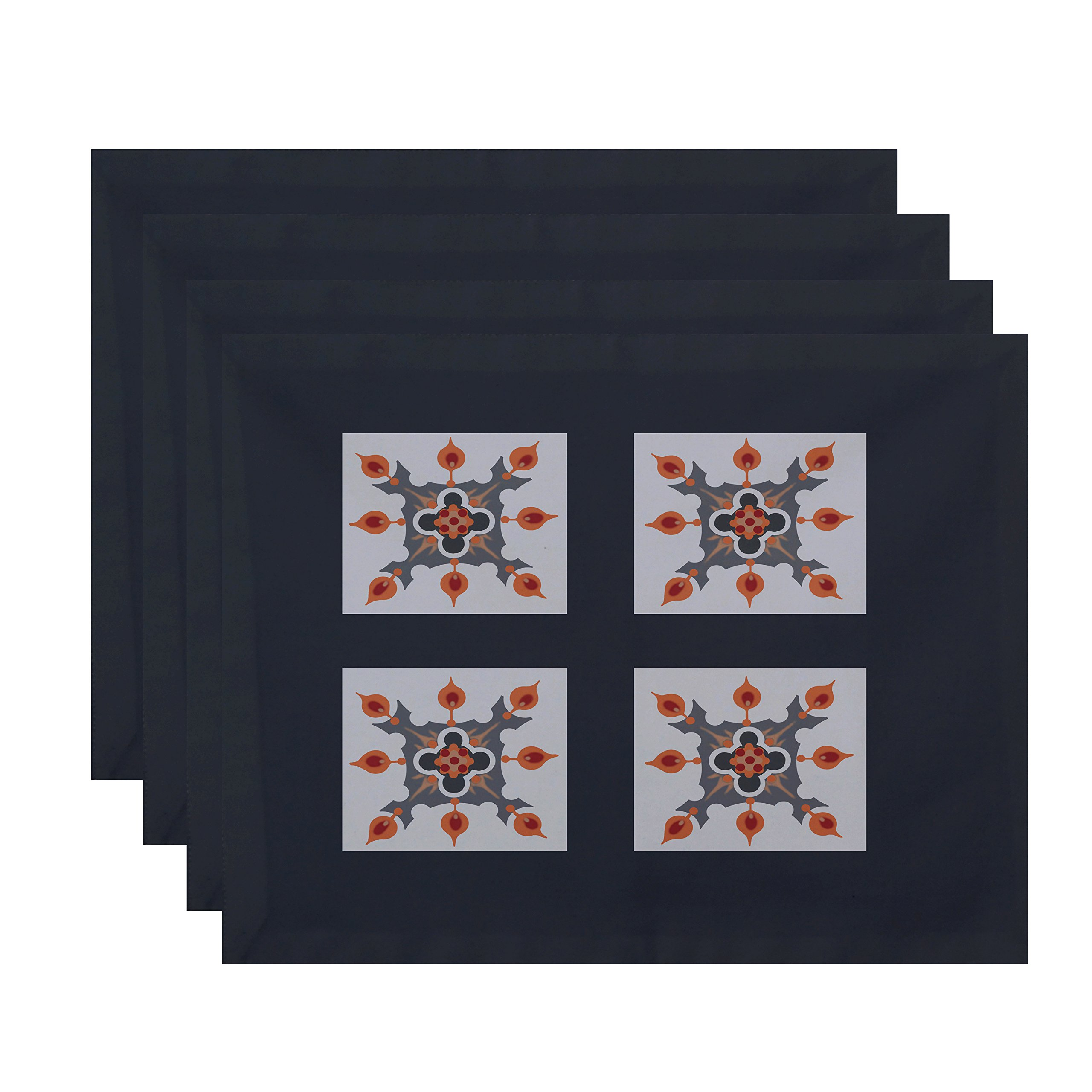 E By Design Four Square Geometric Print Placement, 18'' by 14'', Steel Gray
