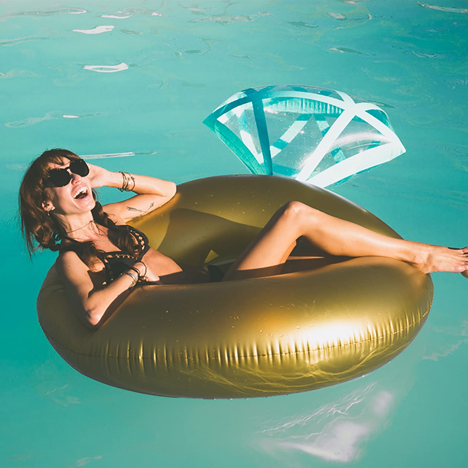 Amazon Fractal Giant Gold Diamond Ring Shape 50 Diameter Inflatable Water Floats For Pool Party Kitchen Dining: Wedding Ring Pool Toy At Reisefeber.org