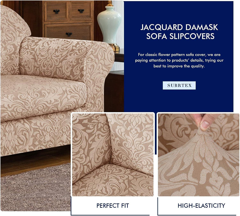 Subrtex 2-Piece Jacquard Damask Loveseat Slipcover Bundles Oversized Ottoman Slipcover