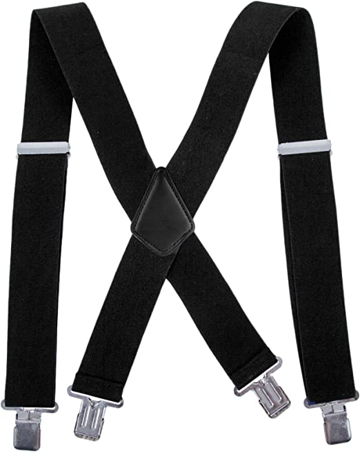Heavy Duty Mens Suspenders X-Back 2 Wide X Shape Braces Elastic and Adjustable Solid Straight Clip Suspenders