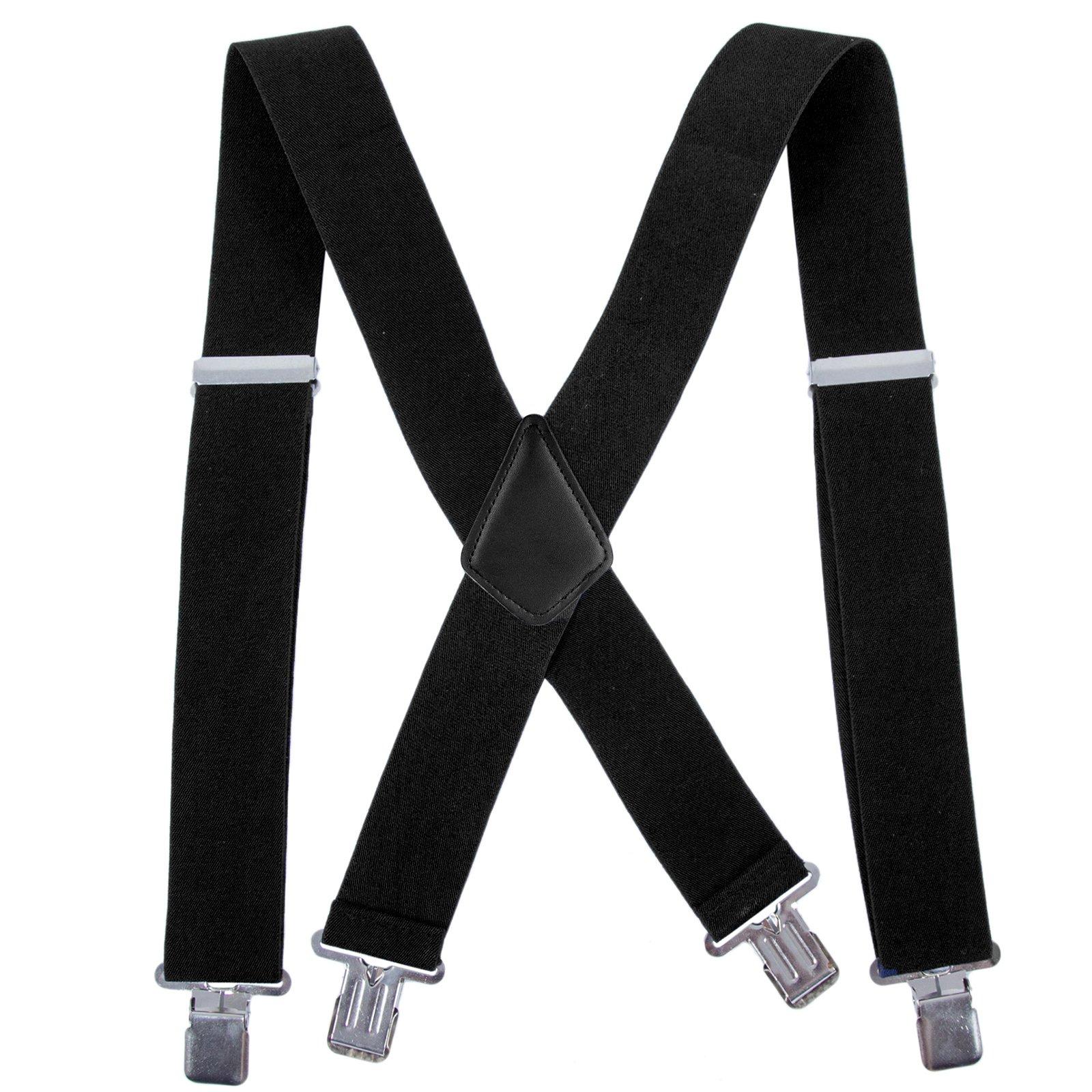 fb5ae98c1c2 Men Utility Suspenders Adjustable Elastic - Heavy Duty 2 Inch Wide X Shape  Strong Clip Suspender