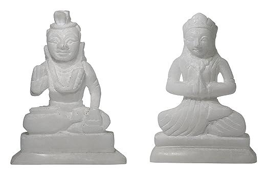 Vishwanath Murti Bhandar Stone Lord Shiva and Paarvati Idol (16 cm x 13 cm x 4 cm, White, Pack of 2)