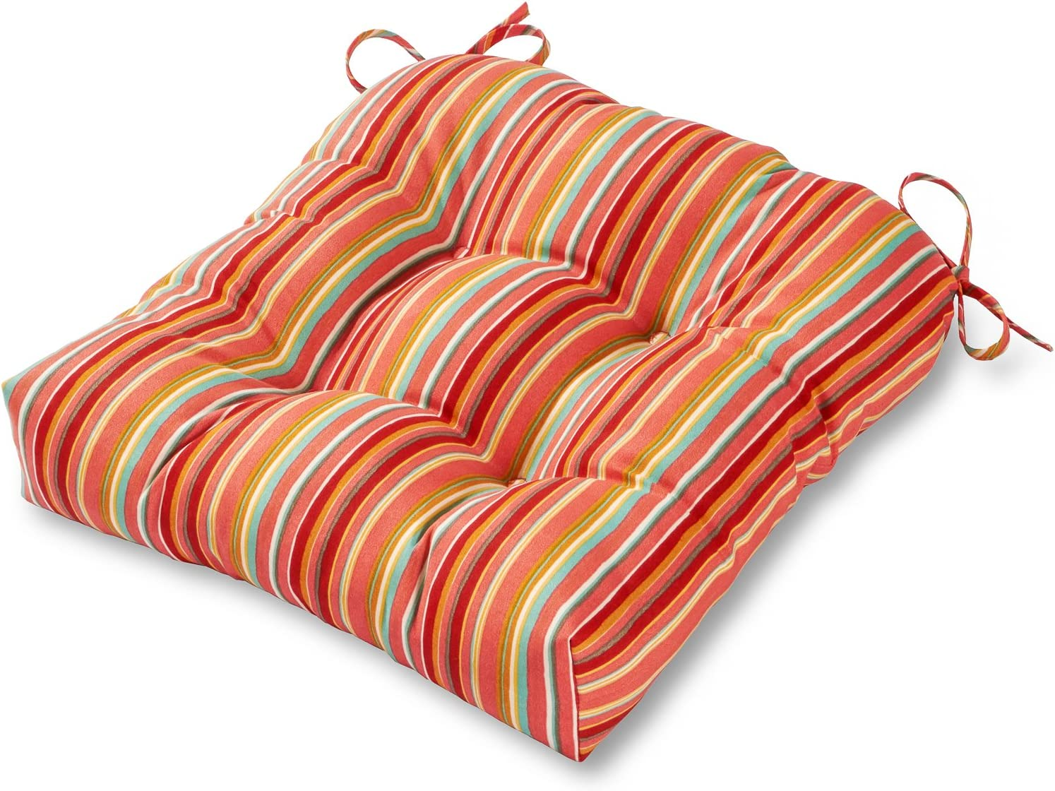 Greendale Home Fashions AZ4800-WATERMELON Coral 20-inch Outdoor Dining Seat Cushion