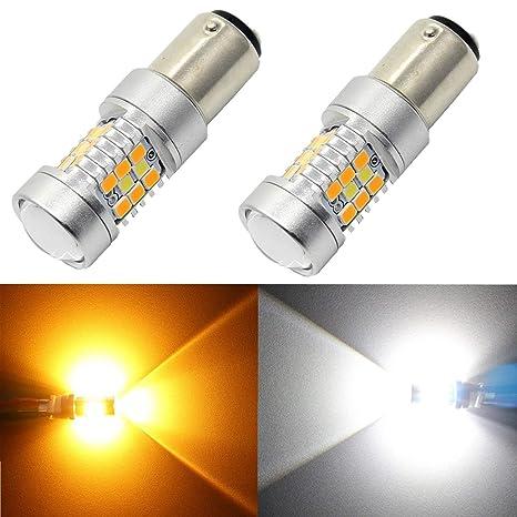 Alla Lighting 1157 2357A BAY15D - Bombilla LED con interruptor, color blanco y amarillo ámbar