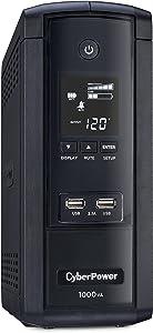 CyberPower BRG1000AVRLCD Intelligent LCD UPS System, 1000VA/600W, 10 Outlets, AVR, Mini-Tower, 5-Year Warranty,Black
