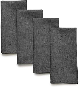 Solino Home Linen Dinner Napkins - 20 x 20 Inch Charcoal Grey, 4 Pack Linen Napkins, Athena - 100% European Flax, Soft & Handcrafted with Mitered Corners