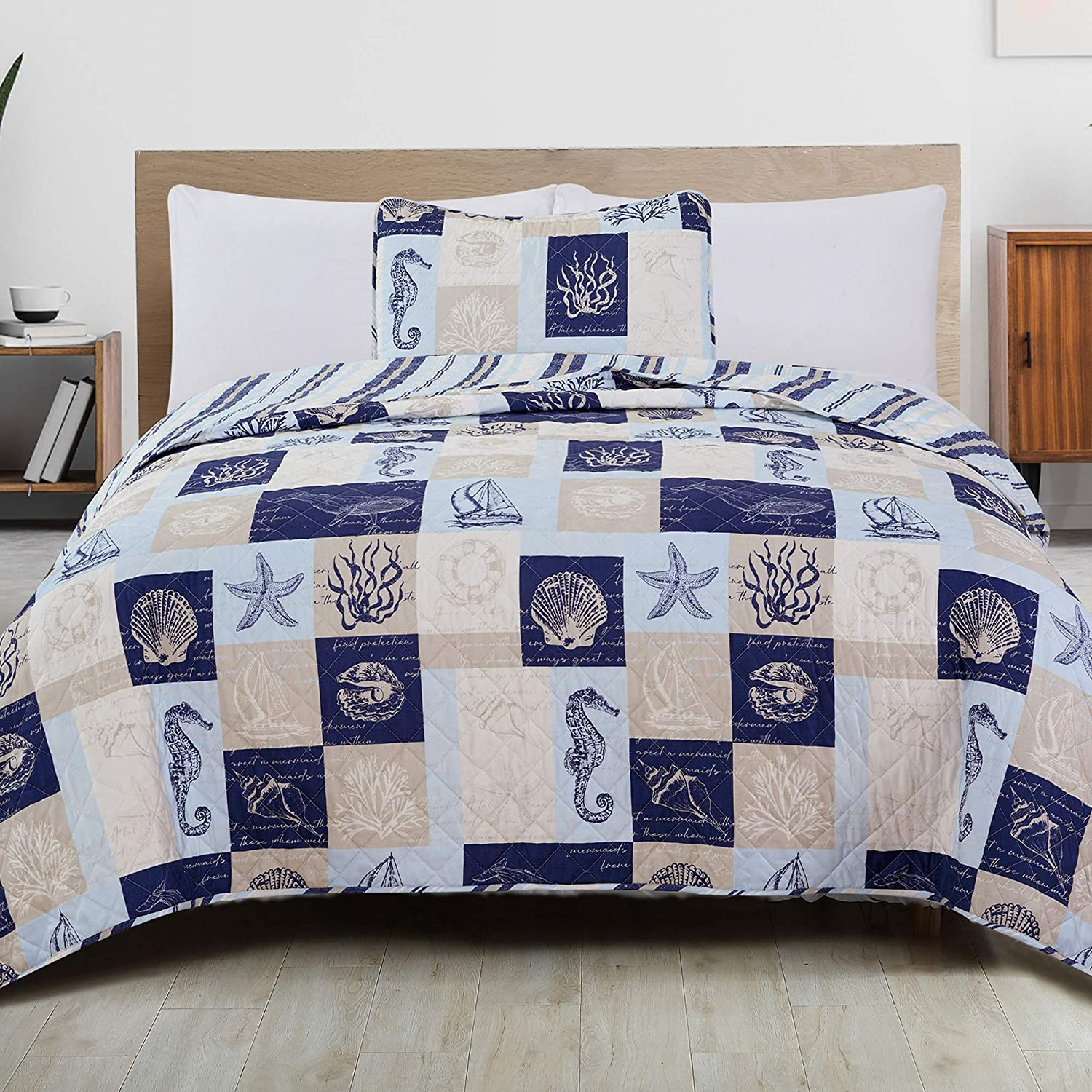 Great Bay Home 2-Piece Reversible Quilt Set with Shams. All-Season Coastal Beach Theme Bedspread Coverlet. Caspian Collection (Twin, Navy/Taupe)