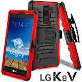 LG K8 V Case, CellJoy [Ultra Rugged] (ShockProof) For LG VS500 / K8V 2016 Verizon Reinforced Impact Bumper [Heavy Duty] Protection Cover With Kickstand [Locking Swivel Belt Clip Holster Combo] (Red)