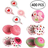 400PCS Valentine's Day Cupcake Toppers Liners - Baking Cake Cups Picks Party Supplies