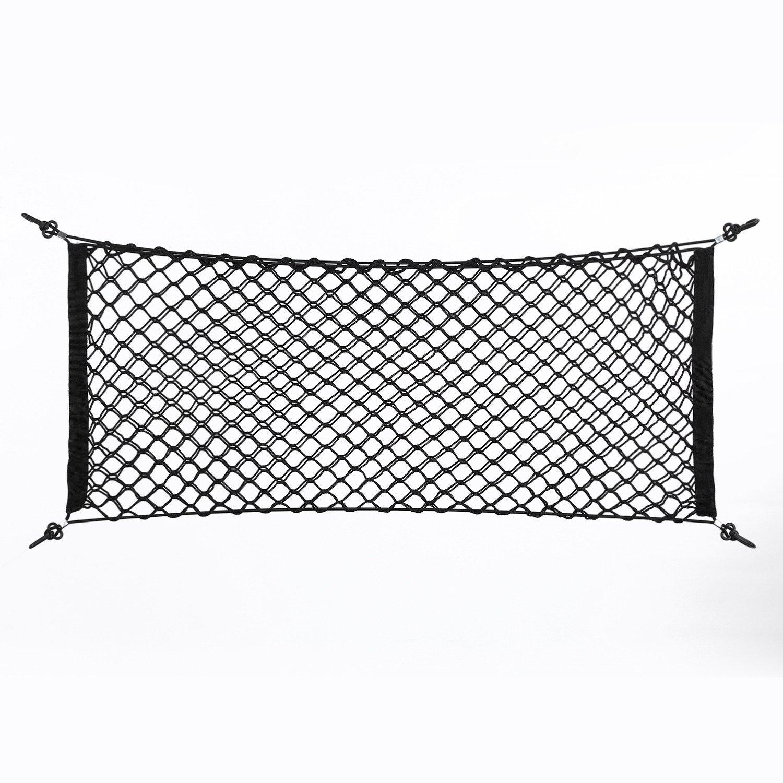 Cargo Net - 100x40cm Nylon Plastic Black Car Storage Bag, Truck Rear Cargo Net Luggage Organizer, Hook Pouch Dewin