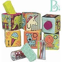 B. Toys - ABC Block Party Baby Blocks - Bloques de construcción de tela suave para niños - Bloques educativos del alfabeto con 6 bloques de juguetes y 5 formas - Grab y bloques de apilamiento - última intervensión de BPA