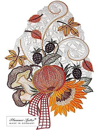 Saugnapf Kürbiskorb Fensterbild Plauener Spitze Spitzenbild Fensterdeko Herbst
