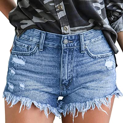 vanberfia Women's Strechy Distressed Denim Shorts at Women's Clothing store