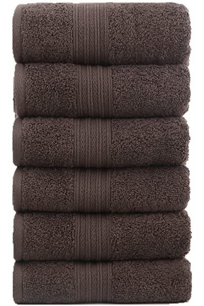 Toallas de mano grandes de algodón (gris, paquete de 6, 40 x 72 cm) - Uso multipropósito para baño, manos, cara, gimnasio y spa por GraceAier Towels: ...
