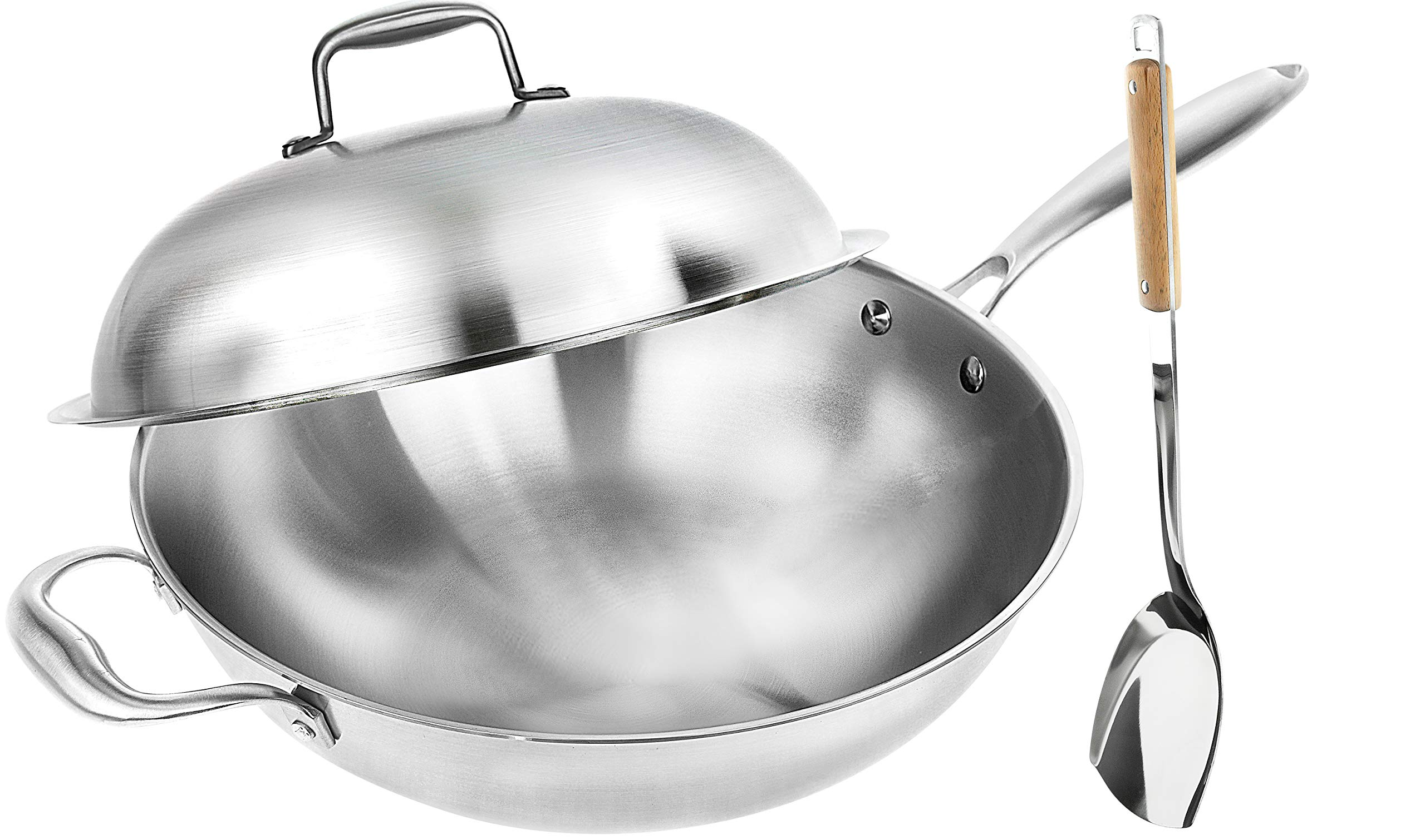 Wok Pan with Premium Lid and Bonus Bamboo Spatula - Thick 13 Inch Stainless Steel Fry Pan with Ergonomic Handle and Non-Stick Scratch-Resistant Surface - Sturdy 2mm Thick Design That is Oven-Safe by Willow & Everett