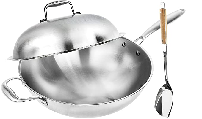 Wok Pan with Premium Lid and Bonus Bamboo Spatula - Thick 13 Inch Stainless Steel Fry Pan with Ergonomic Handle and Non-Stick Scratch-Resistant Surface - Sturdy 2mm thick design that is Oven-Safe best wok