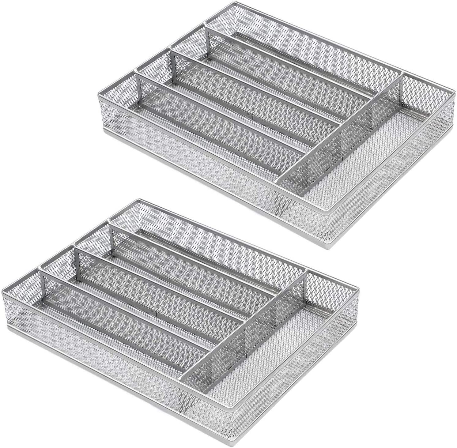 COSWE Flatware Tray Utensil Drawer Organizer Kitchen Utensil Cutlery Tray Mesh Designing with Foam Feet Multi Compartments Keep Desk Drawer and Office Supplies Well Organized-Silver (2 Pack)