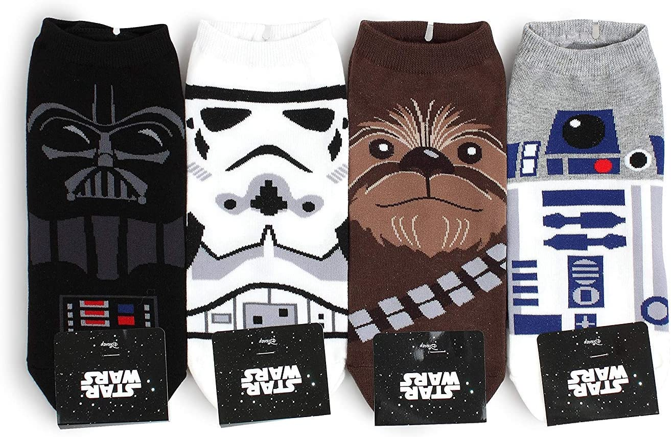 Star Wars Socks Collection Men and Women Socks  Mens Lowcut NIA  4pairs   One Size Fits all Mens 8 5 - 11 Womens 6-8 5
