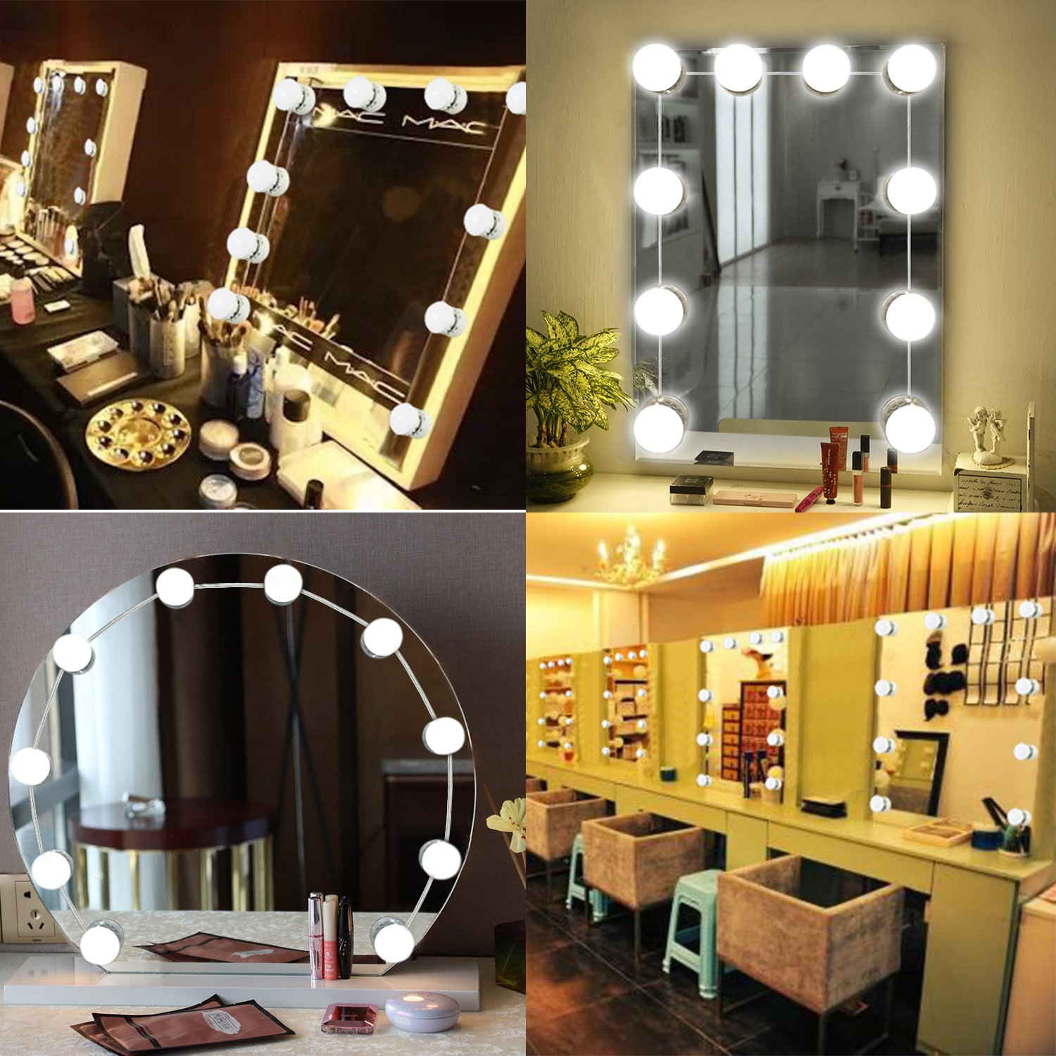 Mirror Lights, UNIFUN Hollywood Style LED Makeup Mirror Lights with 10 Dimmable Bulbs, USB Powered Flexible Lighting Fixture 7000K for Bathroom, Makeup Dressing Table (Mirror Not Include) (Button) by UNIFUN (Image #2)