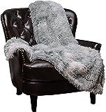 "Chanasya Super Soft Shaggy Fuzzy Fur Fluffy Faux Fur Warm Elegant Cozy with Sherpa Color Variation Pattern Print Plush Silver Gray Throw Blanket (50"" x 65"")- Silver Gray"